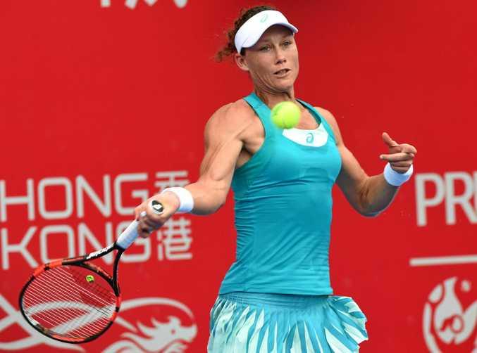 Samantha Stosur fires a return during the Hong Kong Tennis Open.