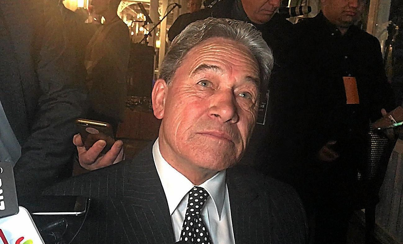 File pic: New Zealand First leader Winston Peters speaks to media.