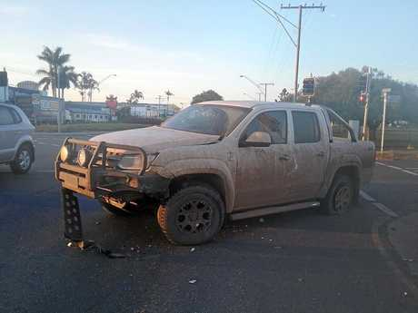 Pamela Stephenson says her ute was hit by another car after it ran a red light this morning on Gladstone Rd, Allenstown.