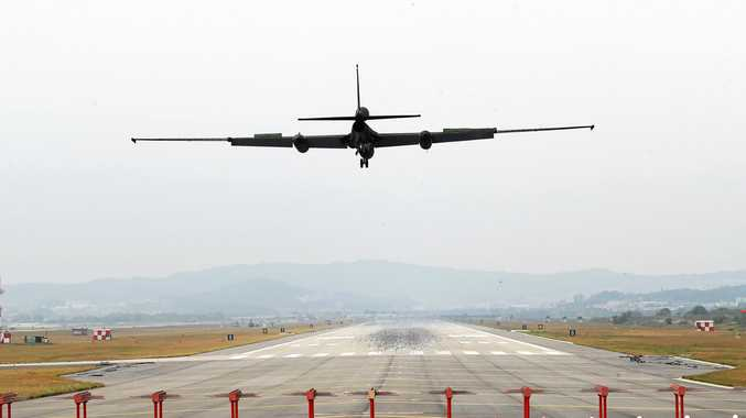A U-2S ultra-high altitude reconnaissance aircraft operated by the US Air Force lands at Osan Air Base, south of Seoul, after its mission on October 10 - the 72nd anniversary of the founding of North Korea's ruling Workers' Party.