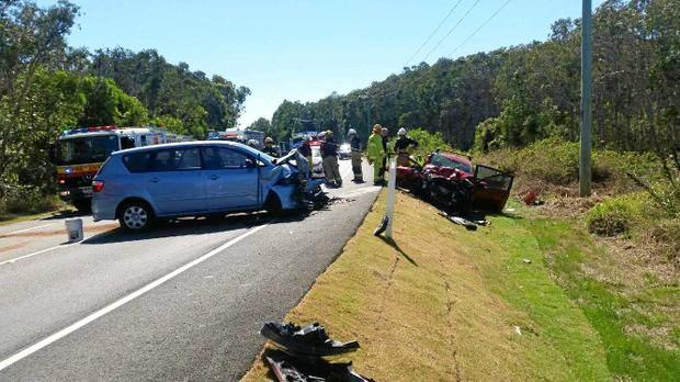 Two cars collided in a crash on David Low Way that has closed the major road in both directions on August 18, 2017.