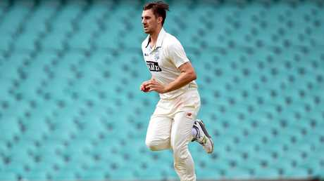 Pat Cummins charges in for NSW in the Sheffield Shield.