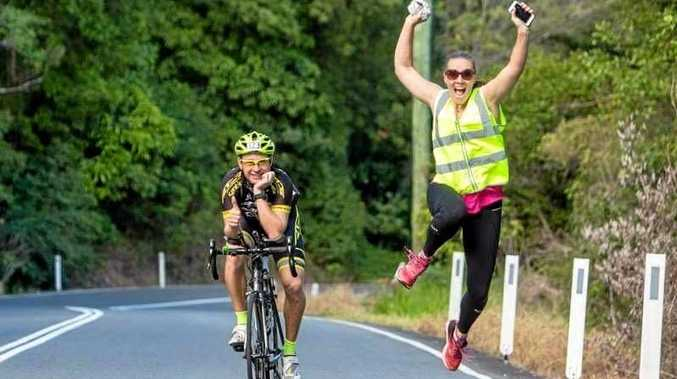 YIPPEE: Tiffany Dahl jumps for joy next to competitor Ryan Stoddart during the Ultraman 2017 competition. Tiffany was part of the support crew during the 2017 circuit, having qualified for the 2018 event.