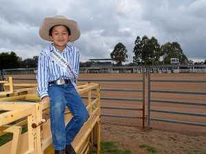 Cowboy Hugh takes a shot at the Mr Tiny Tot title