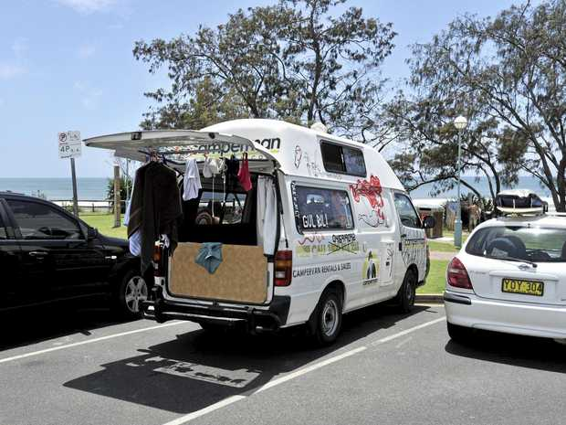 Camper Vans parked at Main Beach in Bryon Bay.