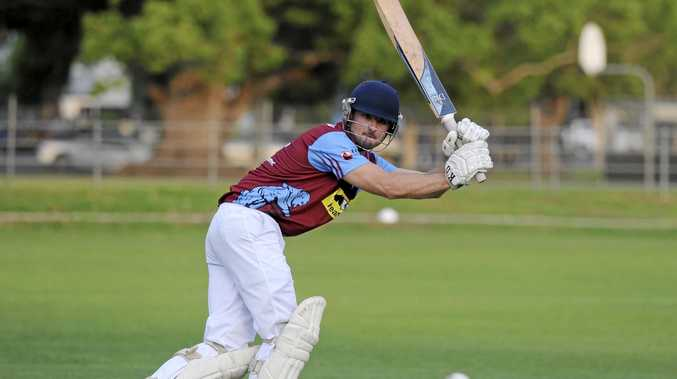 WHAT A KNOCK: Brothers' captain Jake Kroehnert punches a shot away behind square during the Cleavers Mechanical Night Cricket first round clash.