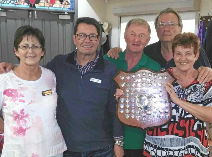 TITLE HOLDERS: Teams Championship winners Denise Hartwig (president) with Tim Runting, Patrick Buglar, Gheorghi Belonogov and Ewa Kowalczyk.