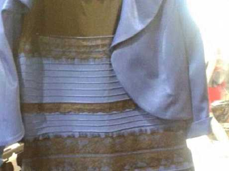 This dress caused a huge debate in February 2015 over whether or not it was blue and black, or white and gold. Picture: TwitterSource:Twitter
