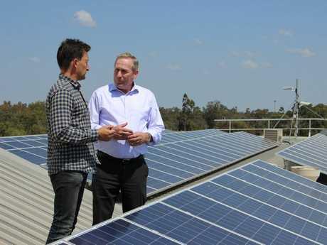 Western Downs Regional Council Mayor Paul McVeigh (right) with Director of Yellow Solar Matt Buchanan.