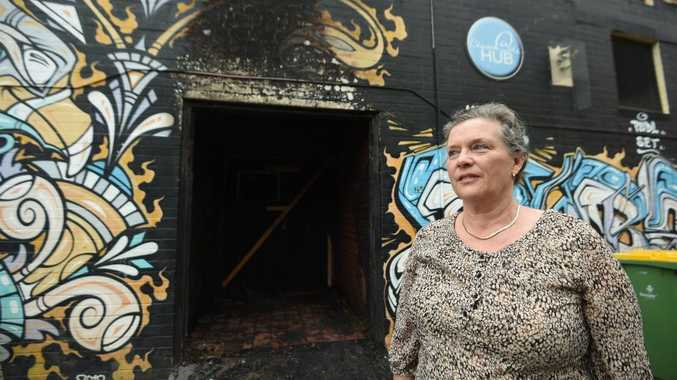 Robyn Spoor, of the Church at the Hub, in front of the area where a fire was lit resulting in damage to the building. Photo Marc Stapelberg / The Northern Star