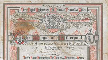 James Fitzpatrick's invitation to the opening ceremony of the Mersey Railway, and the Prince and Princess of Wales. Gympie 150 years. G150.