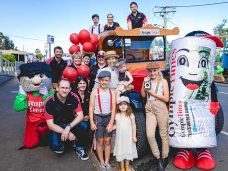 The Gympie Times staff ready to march in the Gympie Gold Rush parade last year.