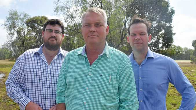 FARMING: LNP Shadow Natural Resources Minister Andrew Cripps, Member for Gregory Lachlan Millar and Senator Matthew Canavan discussing vegetation management.