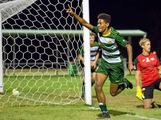 MEMORABLE MOMENT: Western Pride footballer Dan Hall celebrates a goal during the 2017 season.