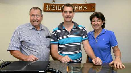 NEW DIGS: Murray Keepkie, Justin Keepkie and Elaine Keepkie at the new Heilbronn's store on Gladstone Rd.