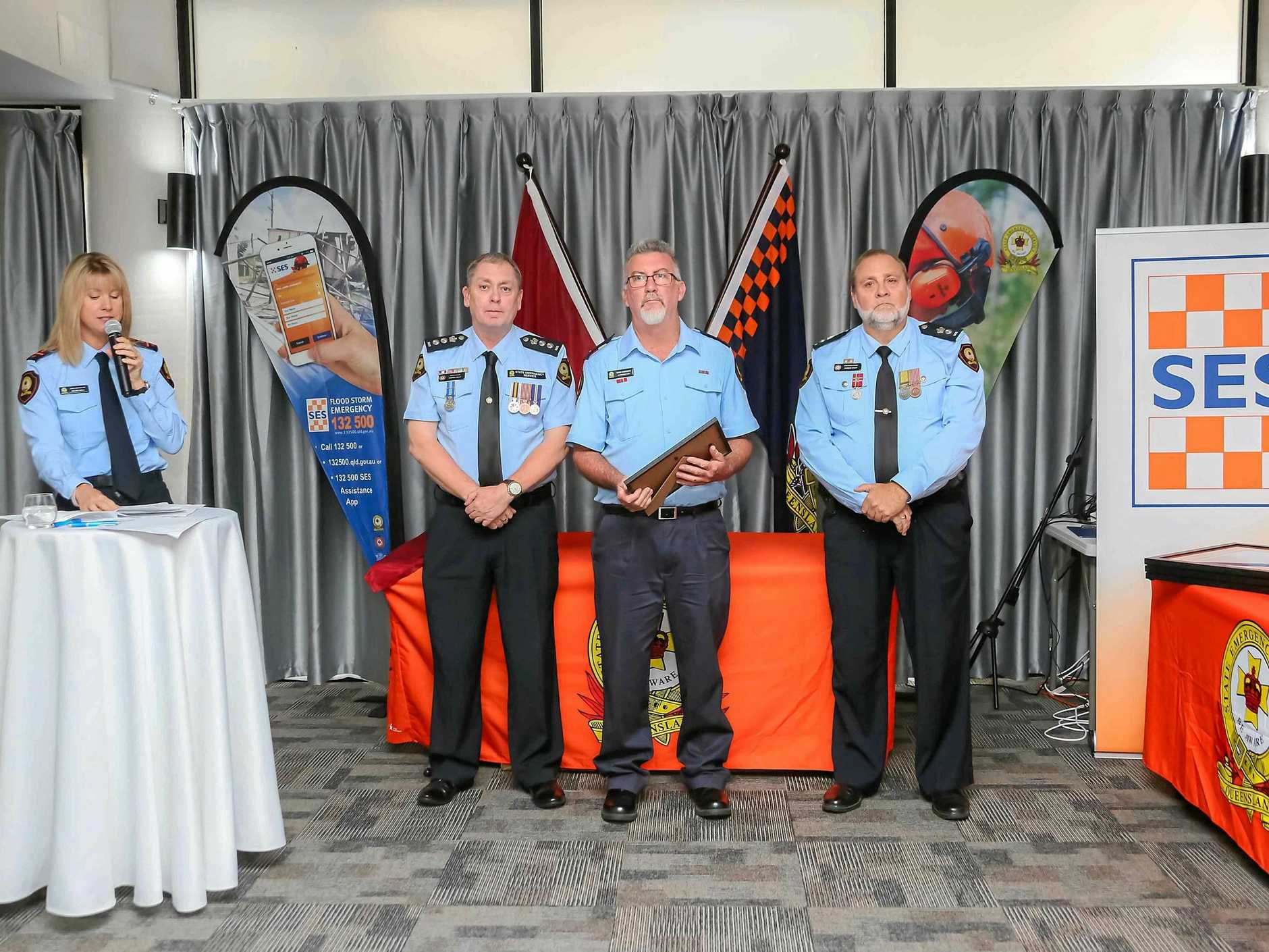 Proserpine SES area controller Mark Connors at the SES awards ceremony at Club Croc last week.