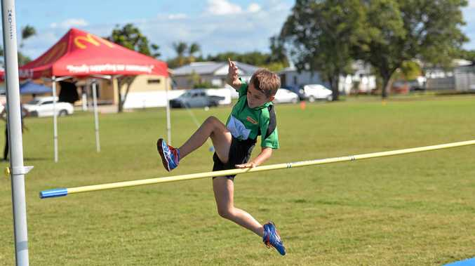 ATHLETE OF THE YEAR: Roary Bentley winning his fourth gold of the day in high jump and smashes his personal best at Mackay Track and Field Carnival in May this year