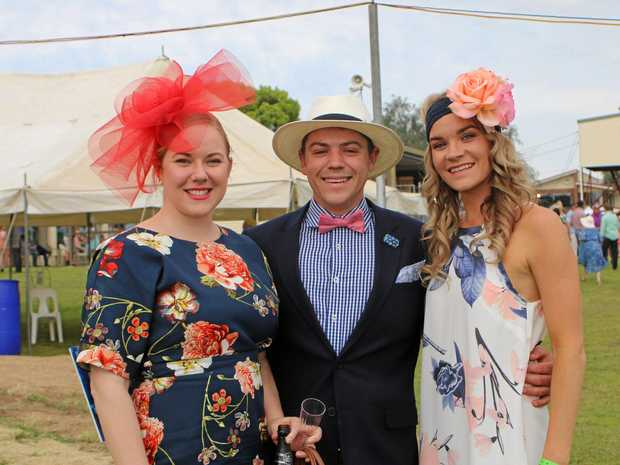 DAY OUT: Rebecca Lancaster, Justin Fraser and Jessica Carey catching up at the Warwick Cup last year.