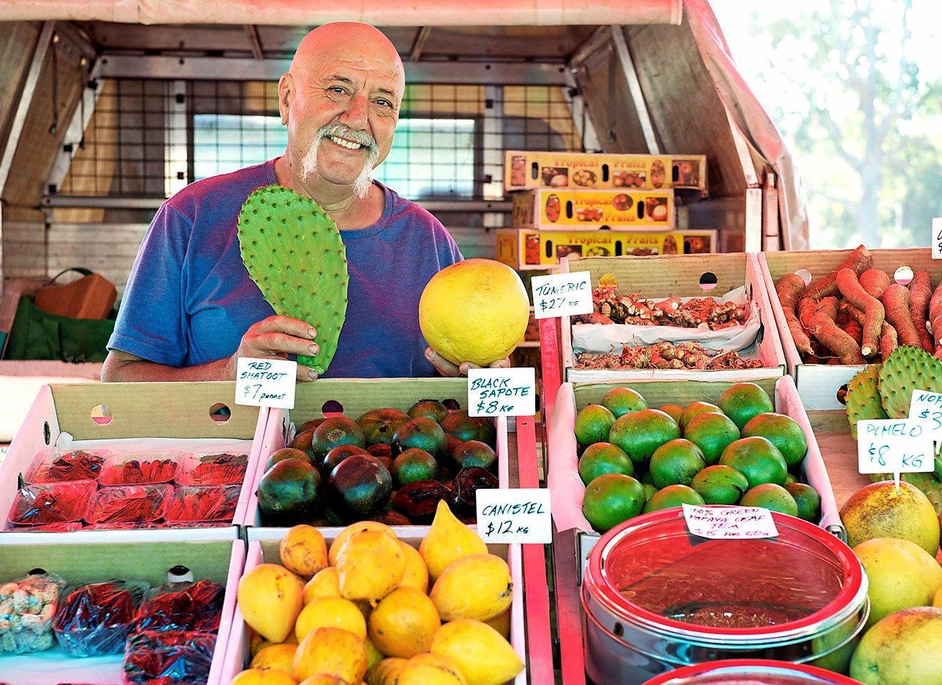 John Picone at his stall at the New Brighton Farmers' Market. PHOTO: KATE O'NEILL