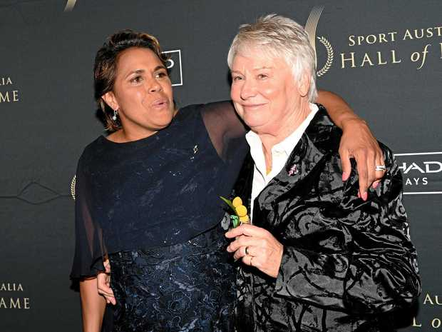 AWARDS NIGHT: Raelene Boyle, right, with Cathy Freeman at the Sport Australia Hall of Fame 33rd Induction & Awards Gala Dinner at the Crown Casino in Melbourne.