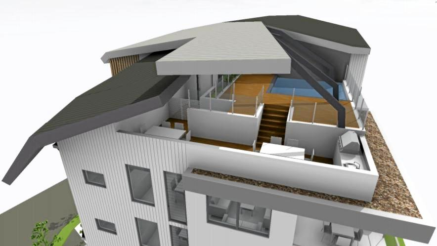 PLANS: The proposed Picasso development at Mooloolaba. A 3D concept render of the rooftop communal area.