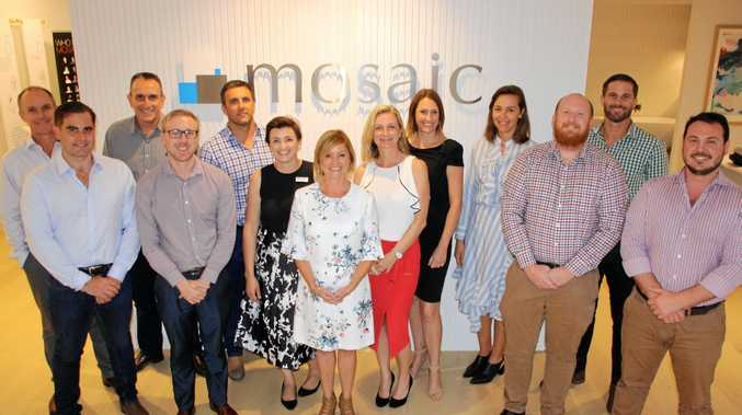 David Handley, Marcus Muir, George Kafantaris, Scott Holmes, Brendan Dale, Bobbie Murphy, Kim Brand, Trina Martin, Kerry Croaker, Margie Sullivan, Peter Bell, Brook Monahan and Taylor Booysen at Mosaic Property Group's opening of their new Sunshine Coast office at Duporth Ave, Maroochydore.