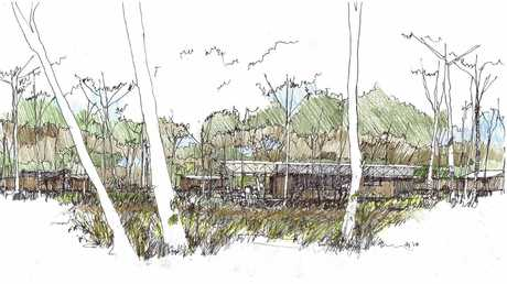 A sketch of the ampitheatre of the wilderness ecocamp.