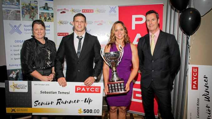 Leanne Knox Winner with Runner - up Sebastian Temesi at 2016 awards