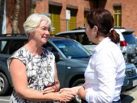 Rockhampton mayor Margaret Strelow greets Queensland Premier Annastacia Palaszczuk MP before taking her on a tour around the Local Disaster Coordination Centre in Rockhampton following Cyclone Marcia. Photo Sharyn O'Neill / Morning Bulletin