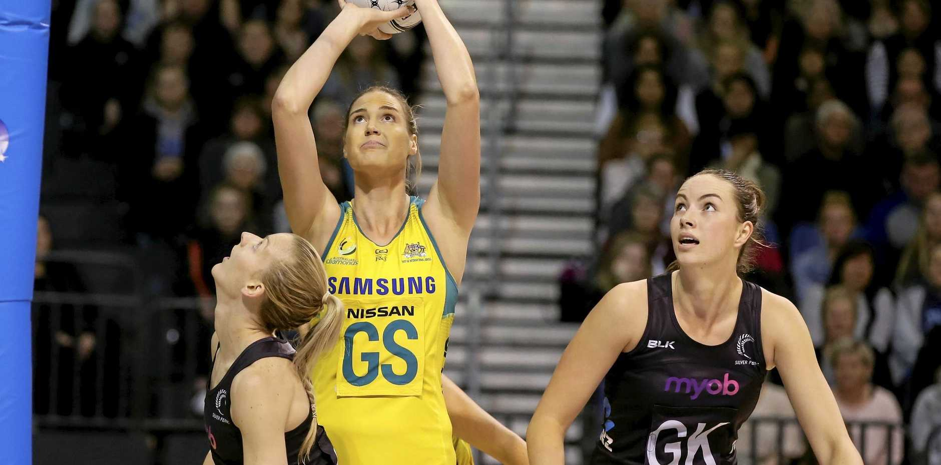 Australia's Caitlin Bassett (centre) says it will be a Diamonds-New Zealand final for the netball gold medal at next year's Commonwealth Games.