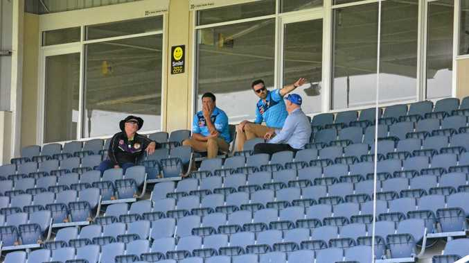 BRAINS TRUST: Gladstone Rugby League president Richard Duff and GRL operations manager Peter White meet with two Gold Coast Titans officials at Marley Brown Oval on Friday.