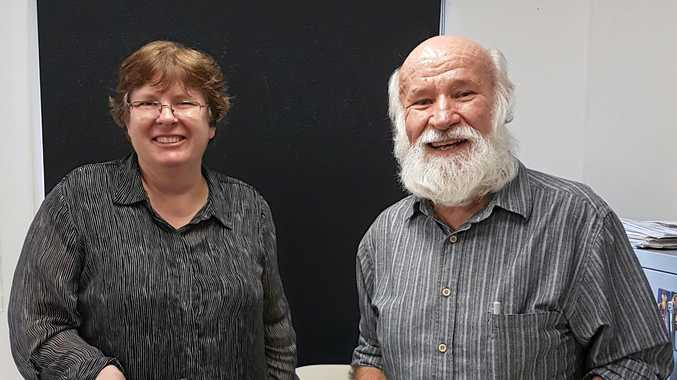 HELPING RESEARCH: Guest speakers Kaye Nardella, senior curator from the Museum of Lands, Mapping and Surveying, and Bill Kitson, founder and former senior curator of the museum.