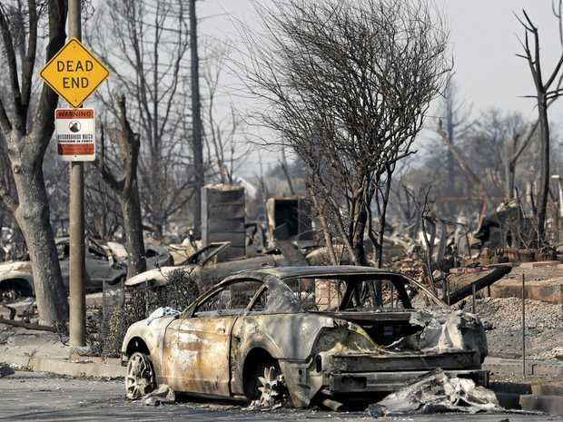 A cul de sac in Santa Rosa, California illustrates the devastation wrought by wildfires in the Napa, Sonoma and Mendocino counties