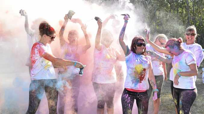 RAINBOW SPRAY: The Mud Rats colour up at last year's Colour Run at the Maryborough Showgrounds. This weekend's Colour Run starts at 12pm.