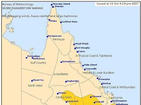 STORM WARNING: Issued at 4.30PM by the Bureau of Meteorology.