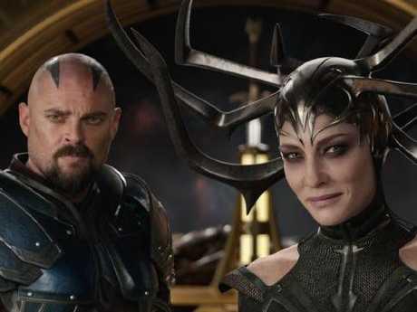 Skurge (Karl Urban) and Hela (Cate Blanchett) in Marvel Studios' Thor: Ragnarok.