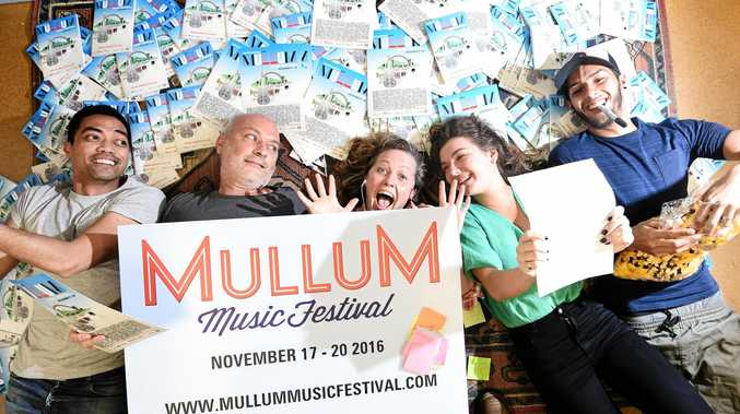 Mullum Music Festival director Glenn Wright with general manager Nin Haggith, artist liaison Kate Atkinson and festival assistants Reuben Zeh, and Maisy Taylor getting ready for the ninth festival for 2016.