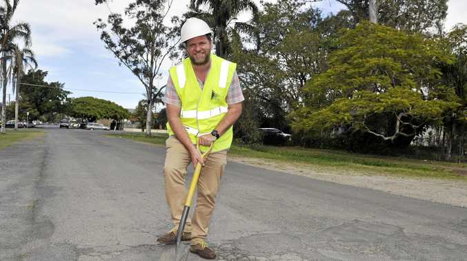 Simon Richardson, Mayor of Byron Shire, is getting on with the job of repairing the potholes around the shire. Photo Mireille Merlet-Shaw / The Northern Star