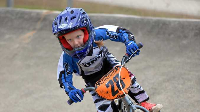 RACING: Walkerston BMX Club's Charlotte Law competes on day 2 of the 2017 Sugar City Classic.