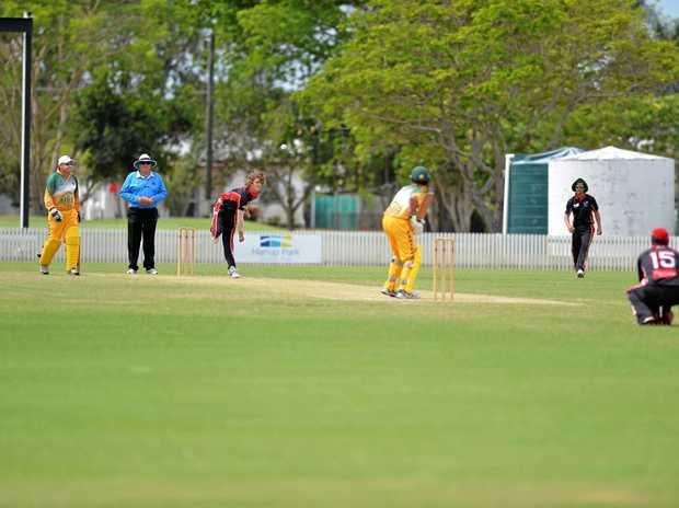 Lane Kohler sends down a delivery as Norths took on Pioneer Valley in Mackay Senior Cricket on Saturday