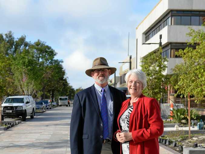 Mayor Margaret Strelow asks outgoing MP Bill Byrne to witness her sign pre-selection form.