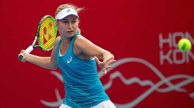 Daria Gavrilova in action against Jennifer Brady during their Prudential Hong Kong Tennis Open semi-final match