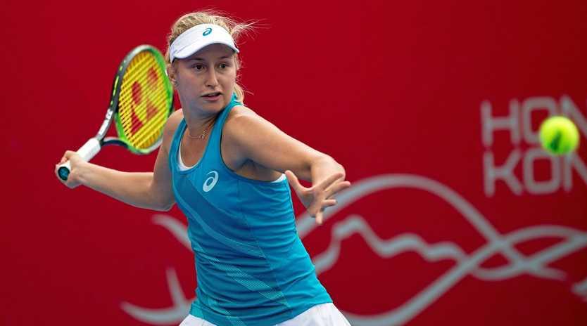 Daria Gavrilova in action against Jennifer Brady during their Prudential Hong Kong Tennis Open semi-final match