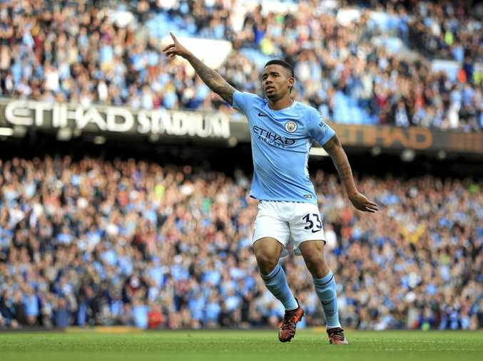 Manchester City's Gabriel Jesus celebrates scoring oine of his two goals against Stoke.