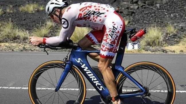 Sarah Crowley on the bike leg in Hawaii.Source:AP