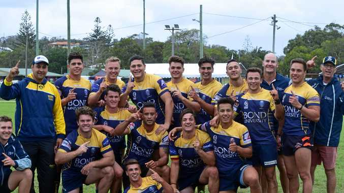 SWEET VICTORY: Bond University celebrate after a 26-12 win over Fiji Tabadamu in the final of the Byron Bay Rugby Sevens.