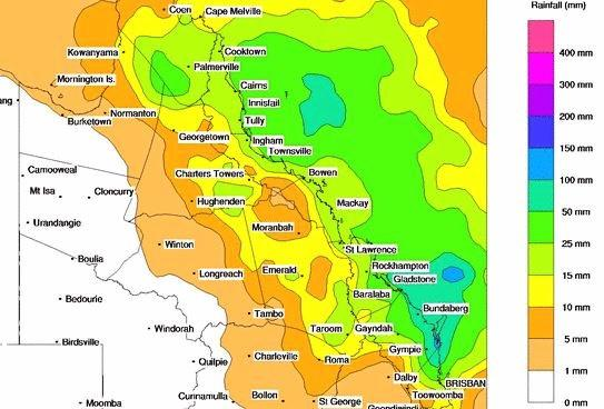 Bureau of Meteorology rainfall modelling for Tuesday, October 17.