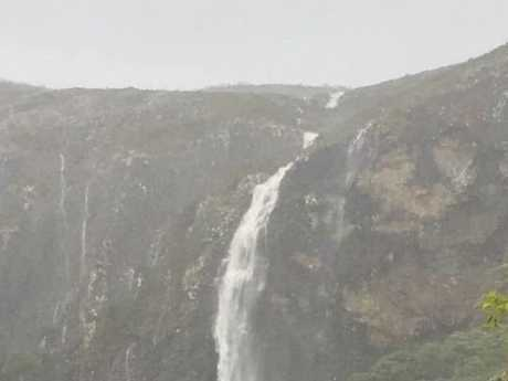 TRANSFORMED: Mount Coolum has been transformed into a waterfall.