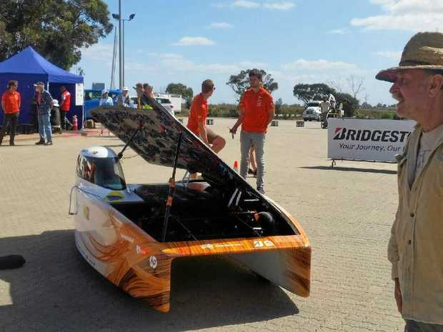 The Nuon Solar team from the Netherlands in Port Augusta before they claimed line honours in the 2017 Bridgestone World Solar Challenge.