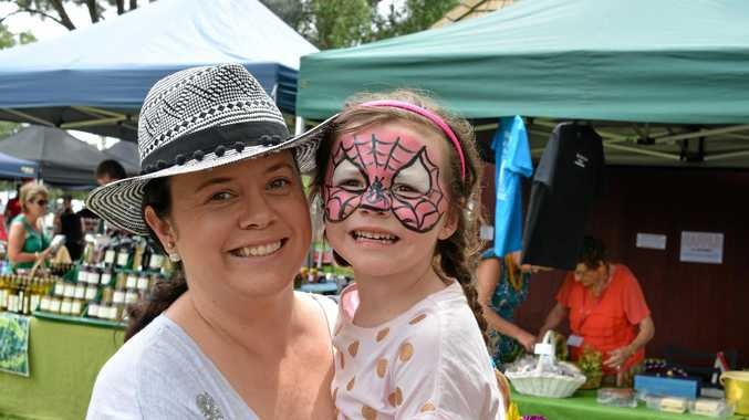 Kelly and Mackenzie Thompson have a great day out at the Marburg Black Snake Creek Festival on Saturday.